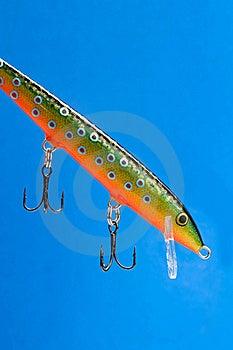 Fishing Bait (Wobbler) On Blue Background Royalty Free Stock Image - Image: 21883806