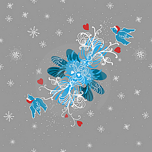 Winter Background With Doodle Birds, Hearts And Stock Image - Image: 21885591