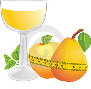 Glas Met Sap, Vruchten En Het Meten Van Band Royalty-vrije Stock Afbeelding - Afbeelding: 21892046