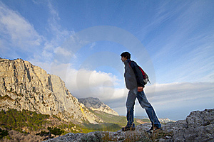 Man On Top Of The Mountain Stock Photography - Image: 21902842