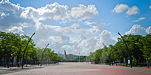 Square Of Public Park With Blue Sky And Clouds Stock Images - Image: 21906584