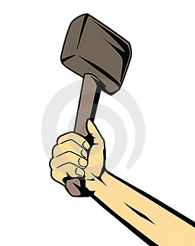 Hand With Hammer Royalty Free Stock Photos - Image: 21945198
