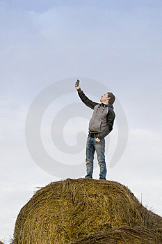 Man Catch Mobile Signal Stock Photos - Image: 21950753