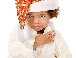 Lovely Baby In Christmas Hat And Fur Royalty Free Stock Image - Image: 21956976