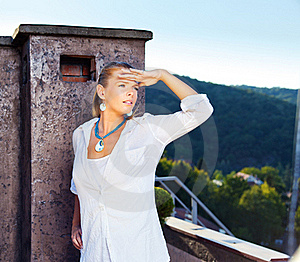 Woman Outdoor, White Dressed Stock Photos - Image: 21964703