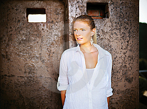 Woman Outdoor, White Dressed Stock Images - Image: 21964714