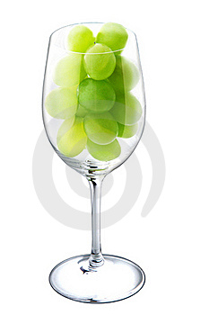 Wine Glass With Green Grapes. Royalty Free Stock Photo - Image: 21972585