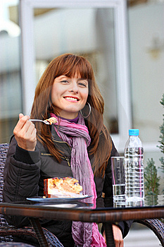 Woman Outdoor With Cake Stock Images - Image: 21987764