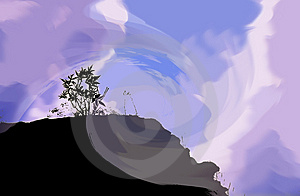 Fantasy Sky Mountain Silhouette Stock Photography
