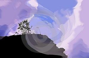 De Bergsilhouet van de fantasiehemel Stock Fotografie