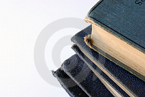 Pile Of Tatty Old Blue Books Free Stock Photo