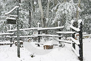 Snowlined fence Royalty Free Stock Photo