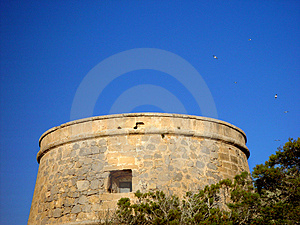 Old Spanish Tower With Birds Royalty Free Stock Photos