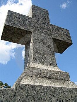 Cross On A Gravestone Stock Photo