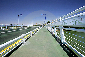 Abstract Bridge Over River In Seville, Southern Spain Stock Images