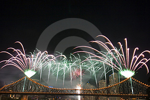 Vuurwerk met Copyspace Royalty-vrije Stock Foto's