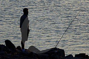 Fishing Silhouette Royalty Free Stock Photography
