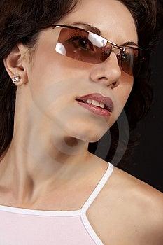 Mooi meisje met zonnebril 02 Stock Foto's