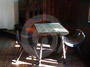 Ancient Chairs And Table Stock Photo
