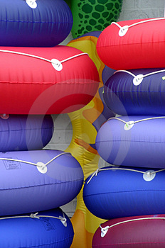 Pile Of Beach Floats Stock Photo
