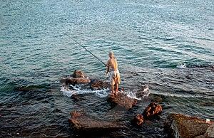 Fisherman And The Sea Stock Image