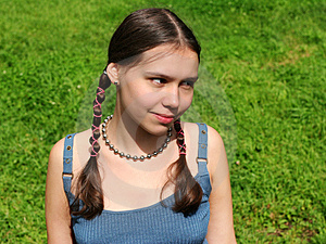 Girl On Grass Free Stock Photography
