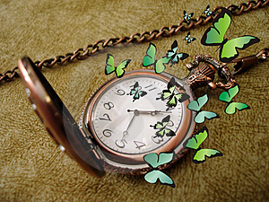 Old Clock With Butterflies Royalty Free Stock Photos - Image: 2208688