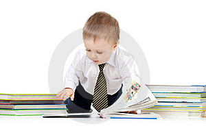 Baby Boy With Books Over White Royalty Free Stock Image - Image: 22002966