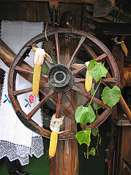 Antique Wooden Cart Wheel Decorated Stock Photo - Image: 22008810