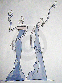 Hand-drawn Sketch Of A Fashion Stock Photography - Image: 22011882