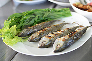 Fried Sardine On Plate In Asian Restaurant Royalty Free Stock Images - Image: 22015349