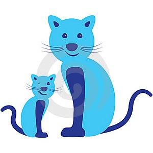 Pair Of Cat - Parent And Child Stock Photo - Image: 22019930