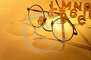 Alphabet And Spectacles Stock Image - Image: 22020661