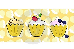 Cup Cake Set With Muffin Background Stock Image - Image: 22022061