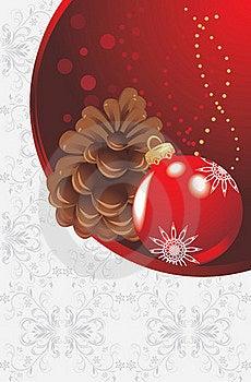 Red Christmas Ball And Pinecone Stock Image - Image: 22024581