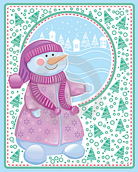 Christmas Card With Snowman Stock Photography - Image: 22027082