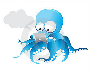 Vector Octopus With Tablet Royalty Free Stock Photo - Image: 22040055