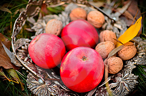 Apples And Nuts Royalty Free Stock Photo - Image: 22043525