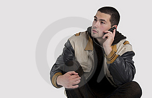 Handsome Young Man Talking On Mobile Phone Stock Photography - Image: 22048512