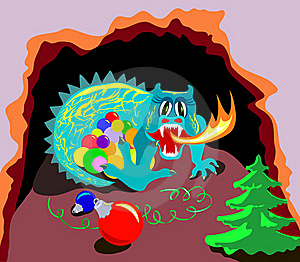 Xmas Dragon In Cave Royalty Free Stock Photography - Image: 22062847