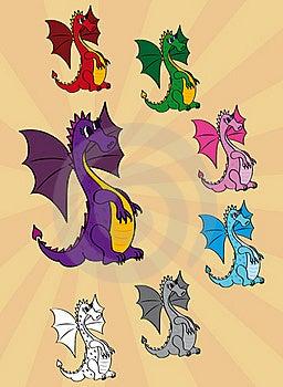Set Of Cute Cartoon Dragons Stock Photos - Image: 22069293
