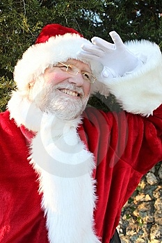 Santa Peering Into The Distance 2 Royalty Free Stock Photo - Image: 22071275