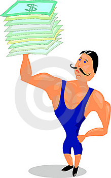 Strongman Lifts Pack Of Dollars Stock Photos - Image: 22087693