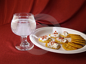 Wine Glass With Cracker Snacks Stock Photo - Image: 2215830