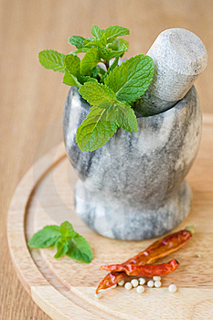 Fragrant Mint In A Ceramic Mortar And Spices Stock Image - Image: 22108261