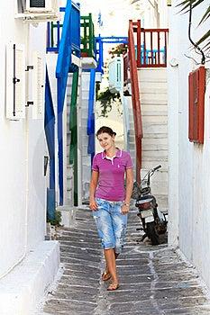 Tourist In A Street Of Mykonos Stock Photos - Image: 22111943
