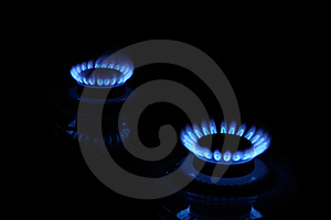 Blue Flames Of Gas In The Dark Stock Photo - Image: 22112930