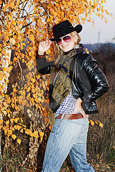 Young Girl Over Autumnal Background Stock Photos - Image: 22121763