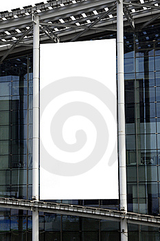 Hanging Blank Billboard On Glass Curtain Wall Royalty Free Stock Photography - Image: 22132157