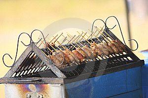 Grilled Sausage Over A Hot Barbecue Grill. Stock Photos - Image: 22133293